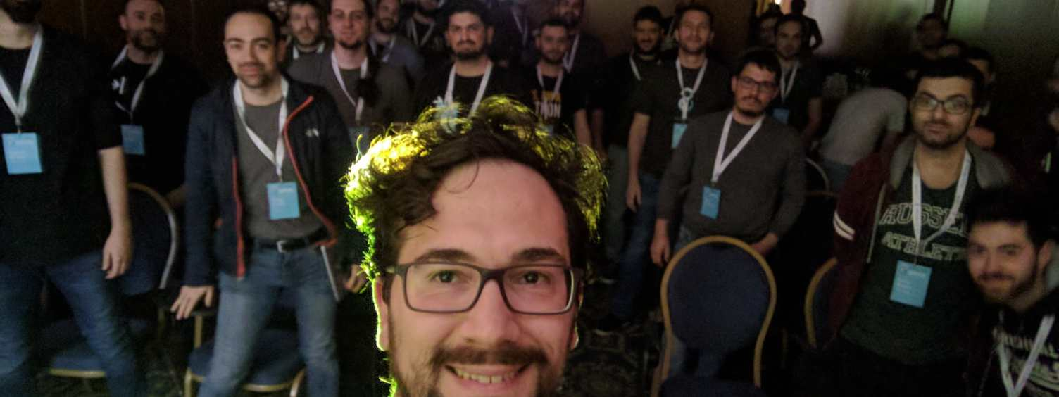 Paolo Melchiorre taking a selfie after his talk at the PyCon IT 2017 in Florence (Italy)