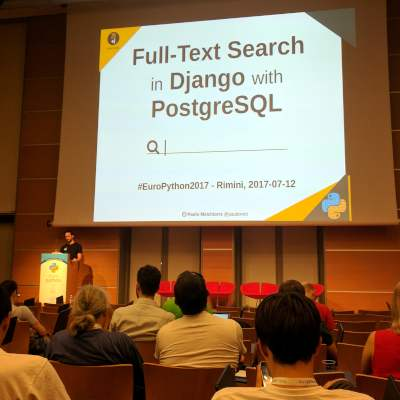 Photo of Paolo Melchiorre Giving a talk at EuroPython 2017