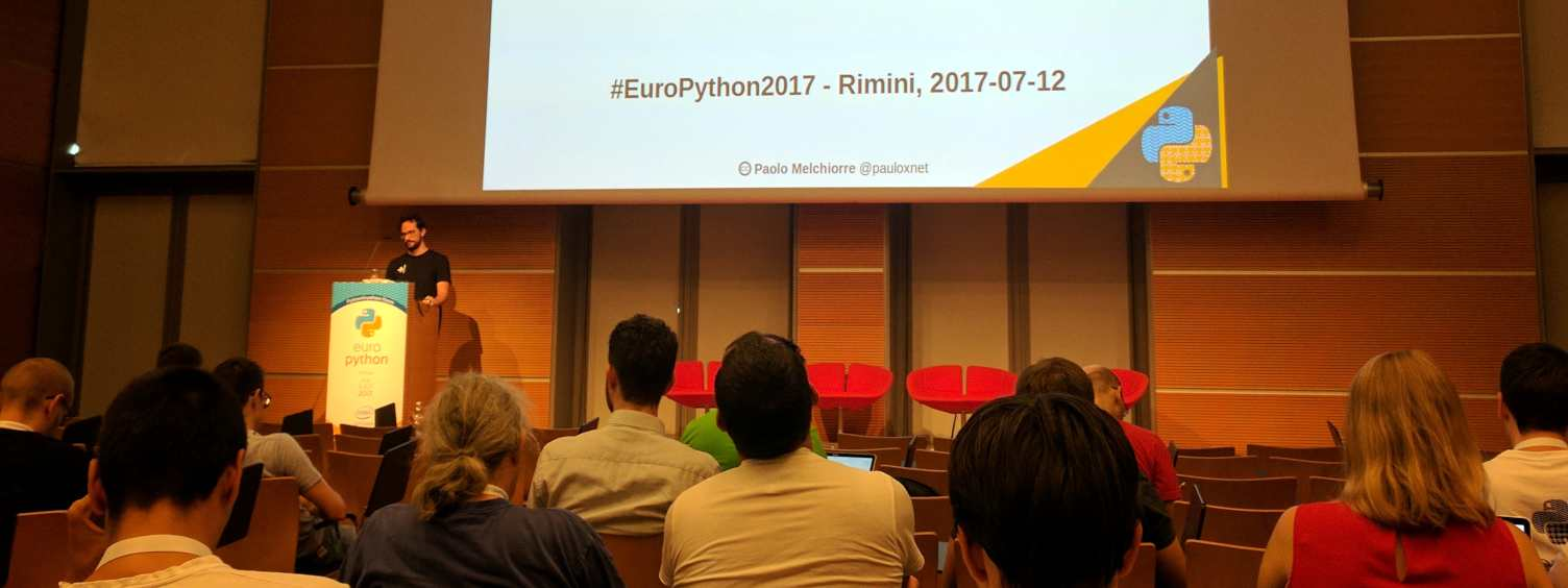 Paolo Melchiorre presenting his talk at the EuroPython 2017 in Rimini (Italy)