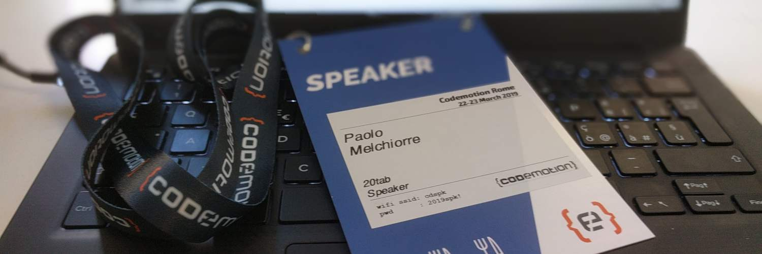 Paolo Melchiorre's speaker badge at the Codemotion Rome 2019