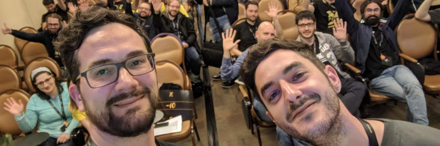 Paolo Melchiorre and Carmelo Catalfamo taking a selfie after their talk at the PyCon IT 2019 in Florence (Italy)